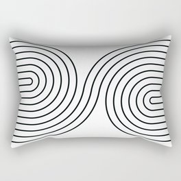Geometric Lines in White and Black 7 Rectangular Pillow