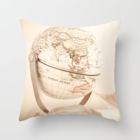globe Throw Pillows featuring Globe by INK Photos
