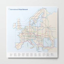 International E-Road Network Metal Print