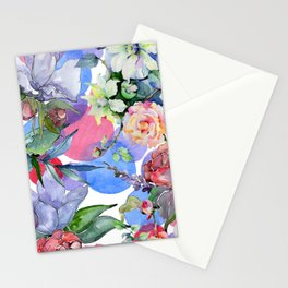 Contemporary Colorful Watercolor Pastel Floral Print Stationery Cards