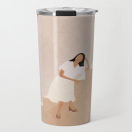 Girl Thinking on a Stairway Travel Mug