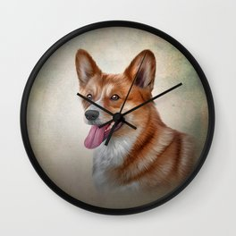 Drawing Dog Welsh Corgi Wall Clock