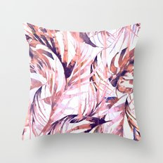 Coral Tropical Palms Throw Pillow
