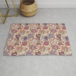 Seven Species Botanical Fruit and Grain in Mauve Tones Rug