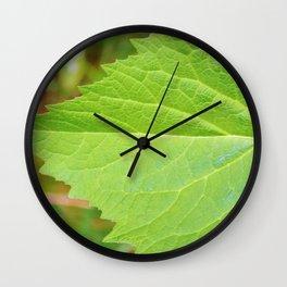 Large green leaf edge Wall Clock