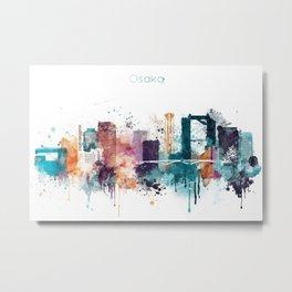 Osaka skyline watercolour Metal Print