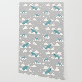narwhal in ocean grey Wallpaper