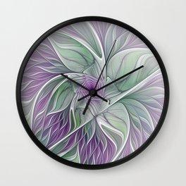 Flower Dream, Abstract Fractal Art Wall Clock