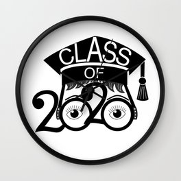 Class of 2020 Graduation Cap with Glasses Wall Clock