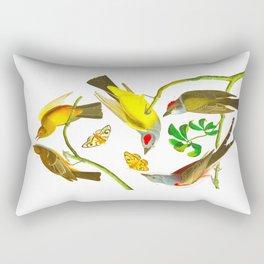 Vintage Scientific Bird Butterfly & Floral Illustration Rectangular Pillow