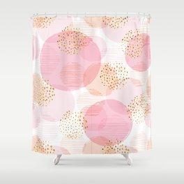 Pink Circles Shower Curtain