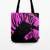 code Tote Bags featuring Zebra Code by nessieness