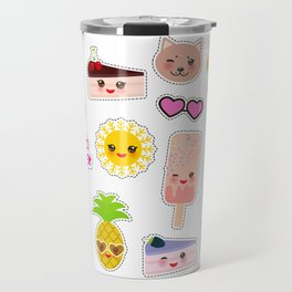 Hello Summer. Pineapple, cherry smoothie cup, ice cream, sun, cat, cake, hamster. Kawaii cute face. Travel Mug