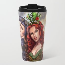 Steampunk Poison Ivy and Batgirl Travel Mug