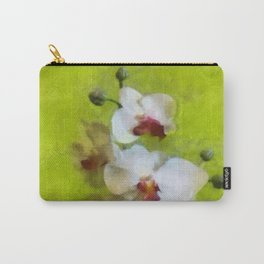 White Orchid on Green background Carry-All Pouch