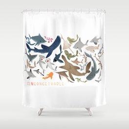 "FINconceivable Still ""Sharks"" Shower Curtain"