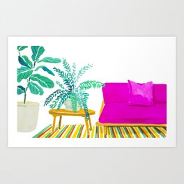 Pink Couch and Plants Art Print