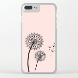 Contemporary Dandelion Flying Seedheads Drawing Clear iPhone Case
