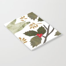 Birds and Holly in Greens, Golds and Red Notebook