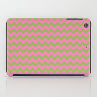 preppy iPad Cases featuring Preppy Pink and Green Chevron by Jozane House