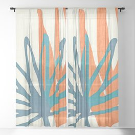 Mid Century Nature Print / Teal and Orange Sheer Curtain
