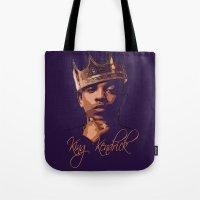 kendrick lamar Tote Bags featuring King Kendrick by GerritakaJey