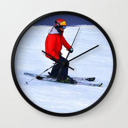 Winter Run - Downhill Skier Wall Clock