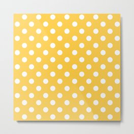 Polka Dots (White & Orange Pattern) Metal Print