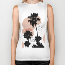 Black and White Palm Trees Biker Tank