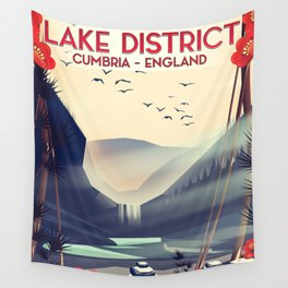 Lake district, Cumbira Travel poster. Wall Tapestry