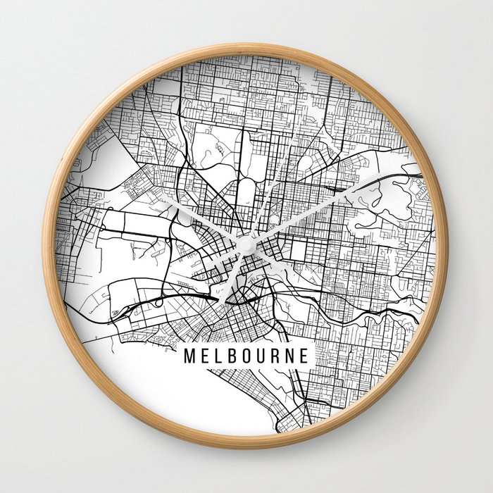 Australia Melbourne Map.Melbourne Map Australia Black And White Wall Clock By Mainstreetmaps