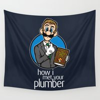 luigi Wall Tapestries featuring How I Met Your Plumber by Mike Handy Art
