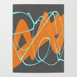 Grey orange and blue Poster