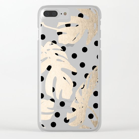 Simply Tropical White Gold Sands Palm Leaves on Dots Clear iPhone Case