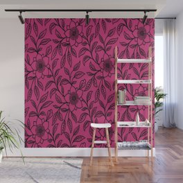 Vintage Lace Floral Pink Yarrow Wall Mural