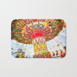 Vintage retro, bright, colorful carnival swing ride Bath Mat