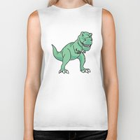 t rex Biker Tanks featuring T-rex by Cat Milchard