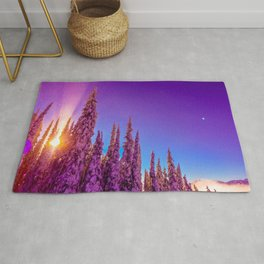 winter mountain sky forest gradient 0276 Rug