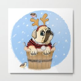 English Bulldog in Christmas Costume Metal Print