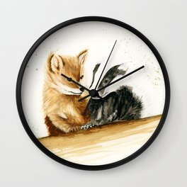 Friends (Fox and Badger) - animal watercolor painting Wall Clock