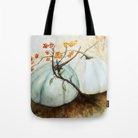 craftberrybush Tote Bags featuring Pumpkin Patch - Watercolor by craftberrybush