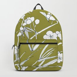 bamboo and plum flower in white on yellow Backpack
