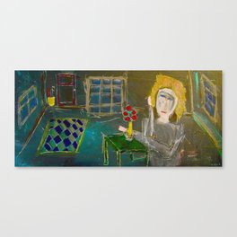 Alma Always Sits At Her Green Table Canvas Print