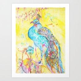 Where Peacocks Kiss the Raindrops Art Print