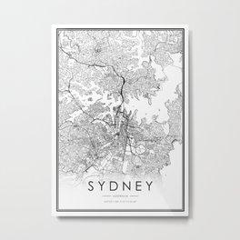 Sydney City Map Australia White and Black Metal Print