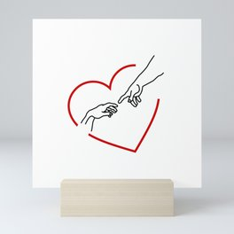The creation of Adam- The hands of God and Adam within a red heart Mini Art Print