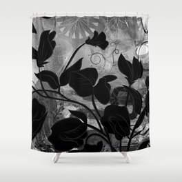 Queen Sweet Pea -- grayscale Shower Curtain
