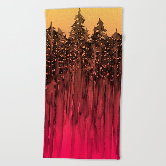 FOREST THROUGH THE TREES 12 Hot Pink Magenta Orange Black Landscape Ombre Abstract Painting Outdoors Beach Towel