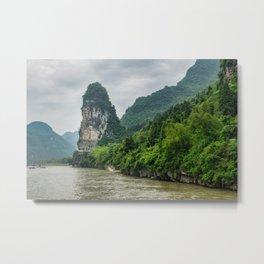 Karst formation on the Li River Guilin, China Metal Print