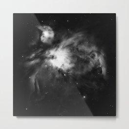 Orion Nebula Black & White Gray Metal Print